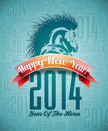 Vector Happy New Year 2014 design with horse and ribbon on typographic background.   Ilustracja