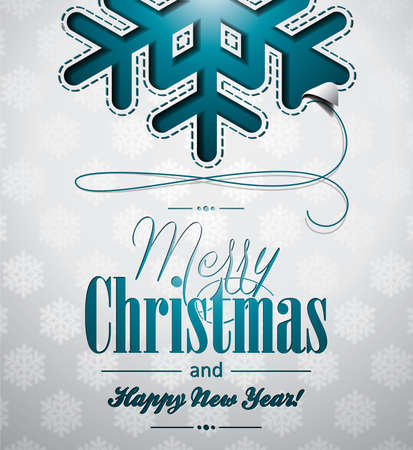 Vector Christmas illustration with snowflakes design on clear background.  Vector