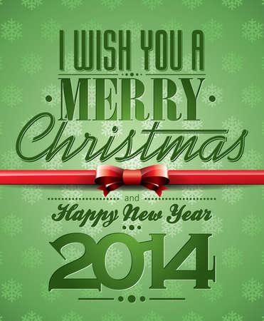 Vector illustratie van Kerstmis met typografisch ontwerp en lint op sneeuwvlokken achtergrond.