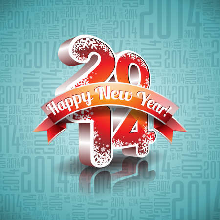 Vector Happy New Year 2014 design with ribbon on typographic background.  EPS 10 illustration. Vectores