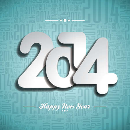 Vector Happy New Year 2014 celebration design on a typographic background.  EPS 10 illustration. Vector