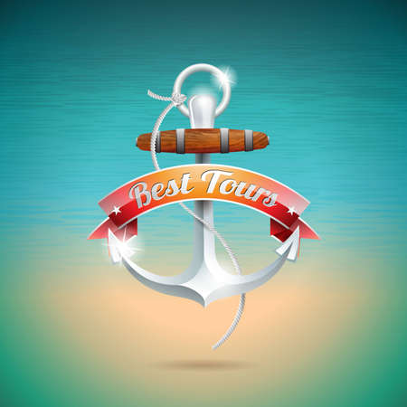 Vector Summer Holiday Design with anchor on blue sea background. 向量圖像