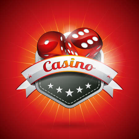 Vector illustration on a casino theme with dices and ribbon.