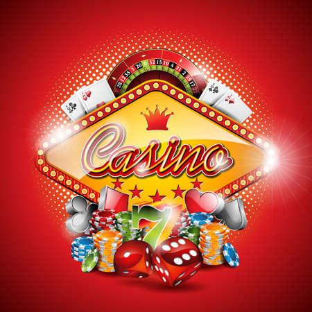 Ilustracji na motywu Kasyno z elementami hazardu na czerwonym tle.