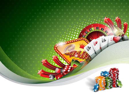 Ilustración vectorial sobre un tema de casino con elementos de juego en fondo verde.
