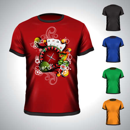 fortune graphics: Vector t-shirt set on a casino holiday theme with roulette wheel. Illustration