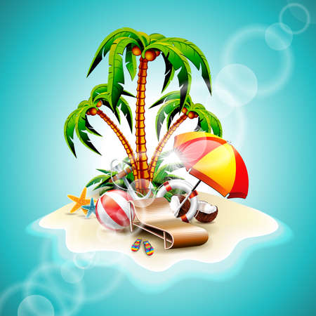 coconut water: Vector illustration on a summer holiday theme with paradise island on sea background.