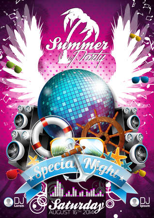 Vector Summer Beach Party Flyer Design with disco ball and shipping elements on tropical background.