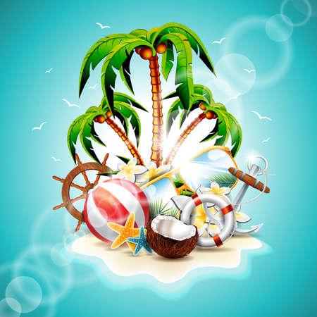 Vector illustratie op een zomerse vakantie thema met paradijselijke eiland op zee achtergrond.