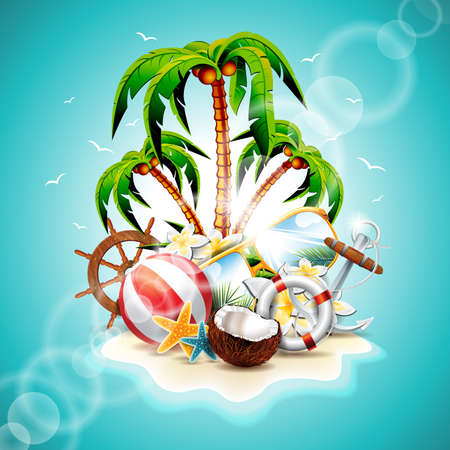 paradise beach: Vector illustration on a summer holiday theme with paradise island on sea background.