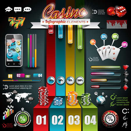 button: Vector Casino infographic set with world map and gambling elements.  Illustration