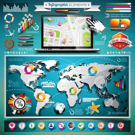Vector summer travel infographic set with world map and vacation elements.  Vector