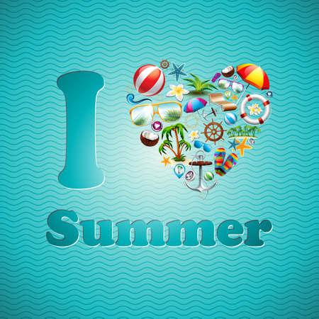 Vector Love Heart Summer Holiday design set on blue wave background. Eps10 illustration.