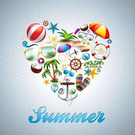 Vector Love Heart Summer Holiday design set on wave background. Eps10 illustration.