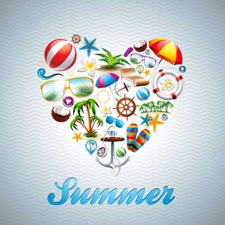 beach party: Vector Love Heart Summer Holiday design set on wave background. Eps10 illustration.