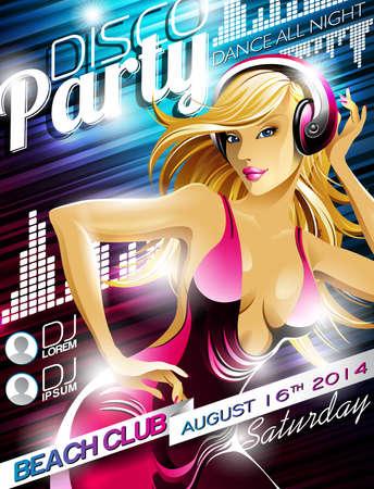 sexy meisje: Disco Party Flyer Design met sexy meisje en hoofdtelefoon op glanzende achtergrond kleur Stock Illustratie