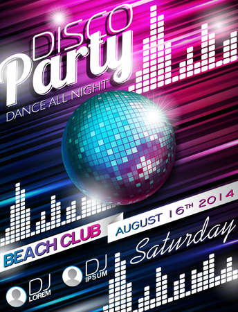 Disco Party Flyer Design with disco ball on shiny background Vector