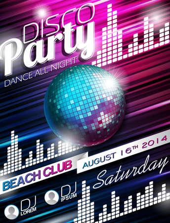 fiestas discoteca: Disco Party Flyer Diseño con bola de discoteca en el fondo brillante