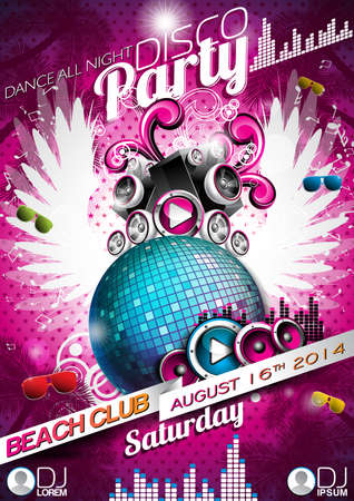 Disco Party Flyer Design with disco ball and wings on pink background.