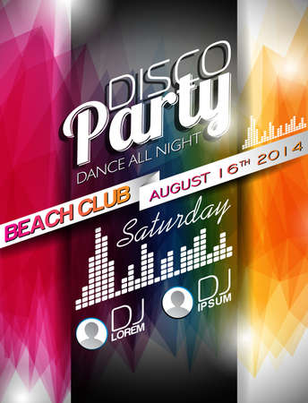 Disco Party Flyer Design on abstract color background Vector