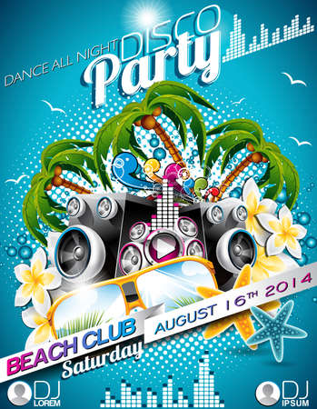 Disco Party Flyer Design with speakers and sunglasses on blue background Vector