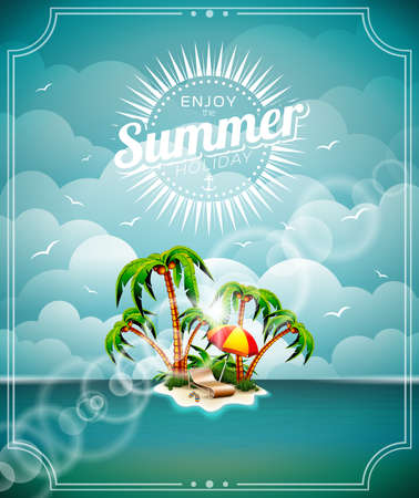 illustration on a summer holiday theme with paradise island on sea background