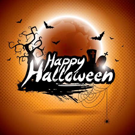calabaza caricatura: ilustración de un tema feliz Halloween en la luna de fondo.