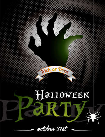 illustration on a Halloween Party theme on dark background.  Vector