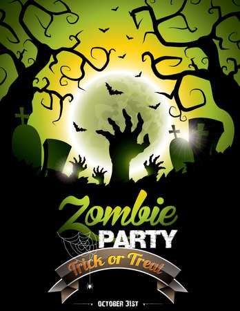illustration on a Halloween Zombie Party theme on green background. Vector