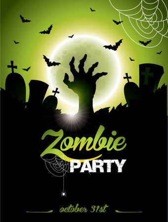 sky background: illustration on a Halloween Zombie Party theme on green background.