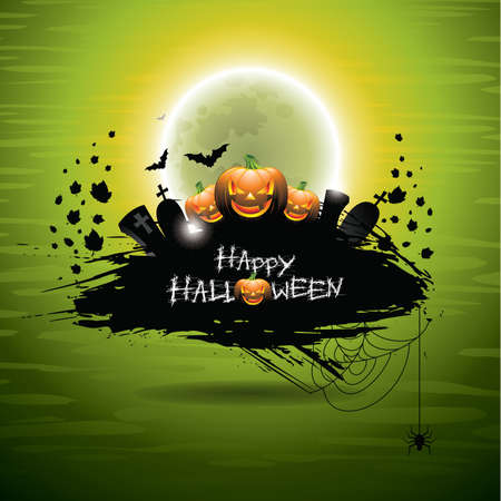 illustration on a Halloween theme on green background.  Vector