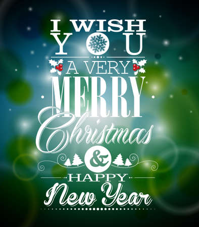 Vector Christmas illustration with typographic design on shiny background. Vector