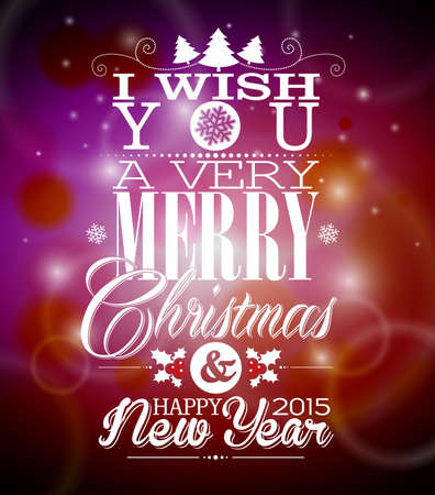Christmas illustration with typographic design on shiny background. Vector
