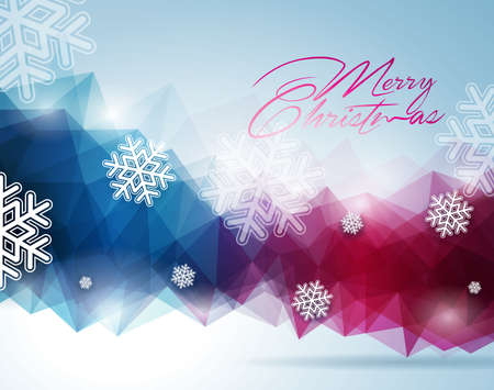 Vector Christmas illustration with typographic design on snowflakes background. EPS 10 illustration. Vector