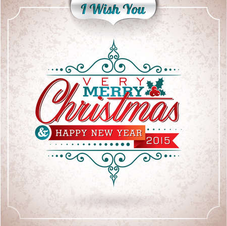 Vector Christmas illustration with typographic design on grunge background. EPS 10 illustration. Vector