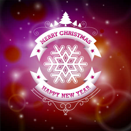 Vector Christmas illustration with typographic design on shiny background. EPS 10 illustration. Vector