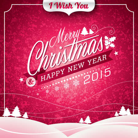 Vector Christmas illustration with typographic design on landscape background. EPS 10 illustration. Vector