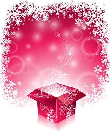 Vector Christmas illustration with typographic design and shiny magic gift box on snowflakes background. EPS 10 illustration. Vector