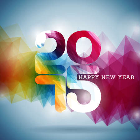 Happy New Year 2015 colorful celebration background. Vector