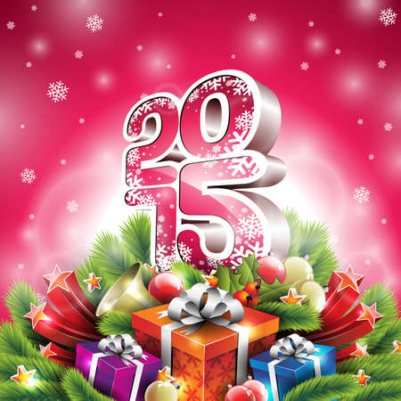 Vector Christmas illustration with 3d 2015 typographic design and shiny holiday elements on red background. EPS 10 illustration. Vector