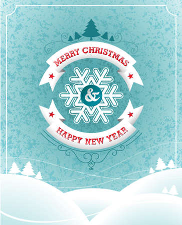 Vector Christmas illustration with typographic design and ribbon on landscape background.  Vector