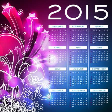 Vector Calendar 2015 illustration on abstract color background. Eps 10 design. Ilustracja