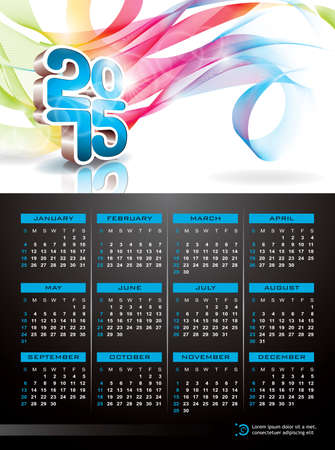 Vector Calendar 2015 illustration on abstract color background. Eps 10 design. Vector