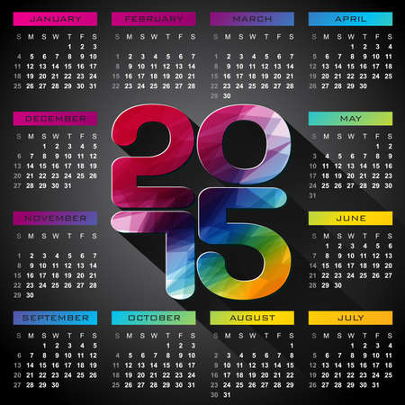 Vector Calendar 2015 illustration with long shadow on dark background. Eps 10 design. Vector