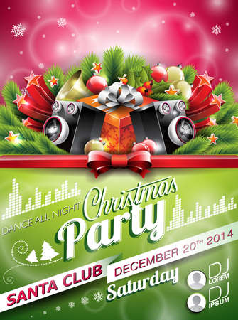 typographiy: Vector Christmas Party design with holiday typographiy elements on shiny background. EPS 10 illustration