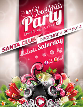 typographiy: Vector Christmas Party design with holiday typographiy elements on red background. EPS 10 illustration Illustration