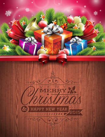 Engraved Merry Christmas and Happy New Year typographic design with holiday elements on wood texture background. Vector