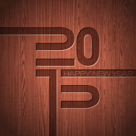Engraved 2015 Happy New Year typographic design  on wood texture background. Vector