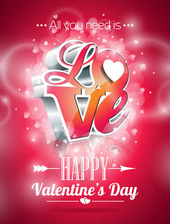 Vector Valentines Day illustration with 3d Love typography design on shiny background. Vector