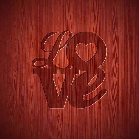 Vector Valentines Day illustration with engraved Love typography design on wood texture background. Vector